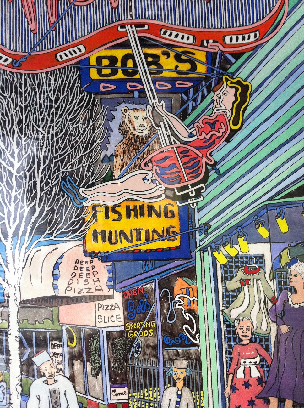 Helen the neon girl loves to swing. Bob the next door bear loves to watch.